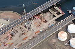 "Overview of Pearl Harbor Memorial ""Q"" Bridge New Construction near Interstate I-95 I-91 CT Route 34 Interchanges. Part of the I-95 New Haven Harbor Crossing Corridor Construction Project. Photography captured at the beginning of Contract B1 & E1 of coffer damns and pier construction. West end of Harbor Crossing."