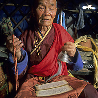 MONGOLIA, Darhad Valley. 80-year old Tibetan Buddhist lama in Rinchenlhumbe who survived Soviet repression during which most monks were killed.
