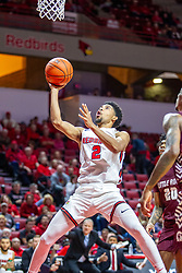NORMAL, IL - November 10: Zach Copeland does some splits getting to the hoop for a lay up during a college basketball game between the ISU Redbirds and the Little Rock Trojans on November 10 2019 at Redbird Arena in Normal, IL. (Photo by Alan Look)