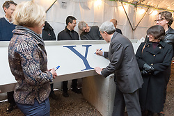 Peter Salovey, University President, signing the Topping Off beam for the  New Science Building at Yale University, Topping Off Ceremony and Signing of the Beam.