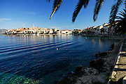 Korcula old town, viewed from the West, waterside in foreground. Korcula old town, island of Korcula, Croatia