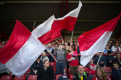 © Licensed to London News Pictures . 18/05/2016 . Accrington , UK . Accrington Stanley fans pre match . Accrington Stanley take on AFC Wimbledon at the Wham Stadium , in the 2nd leg of their League Two tie , the result from which will decide which team goes on to the final at Wembley . Photo credit : Joel Goodman/LNP