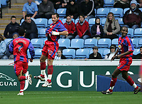 Photo: Lee Earle.<br /> Coventry City v Crystal Palace. Coca Cola Championship. 13/01/2007. Shefki Kuqi (C) jumps for joy after scoring the second for Palace.