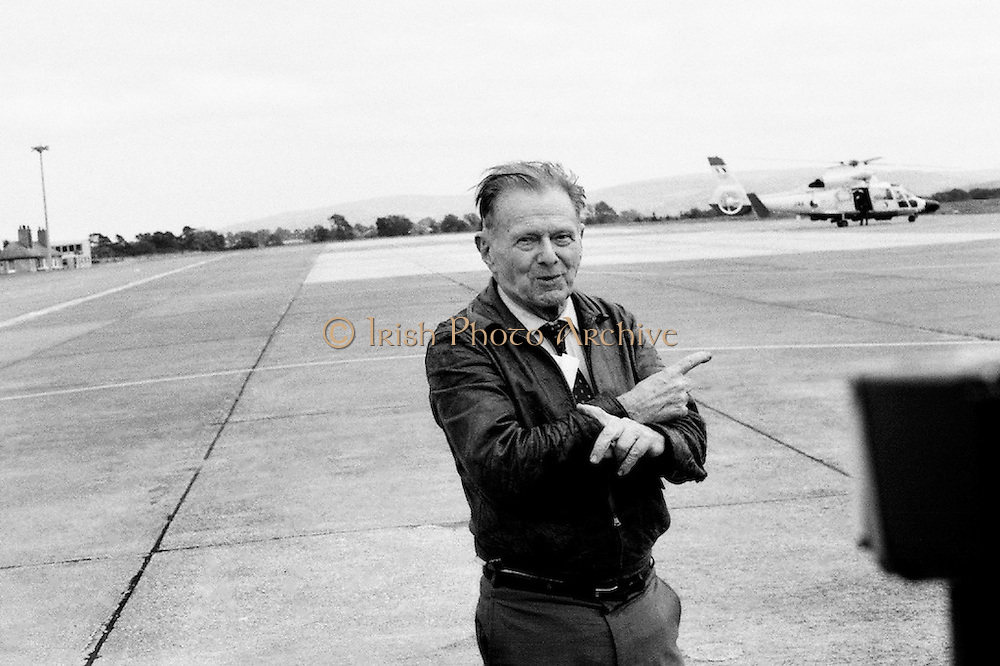 Douglas 'Wrongway' Corrigan returns to Baldonnell Aerodrome, fifty years after his transatlantic flight in a Curtiss Robin aircraft. After a transcontinental flight from California to New York, Mr Corrigan was to make a return flight to California. However, after take off he turned and flew solo over the Atlantic to Ireland, having been refused permission by American authorities to do so. On arrival in Ireland, he maintained that bad weather conditions and compass malfunction were the reasons for his 'wrongway' flight.<br />