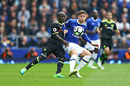 Ngolo Kante of Chelsea (l) and Ross Barkley of Everton battle for the ball. Premier league match, Everton v Chelsea at Goodison Park in Liverpool, Merseyside on Sunday 30th April 2017.<br /> pic by Chris Stading, Andrew Orchard sports photography.