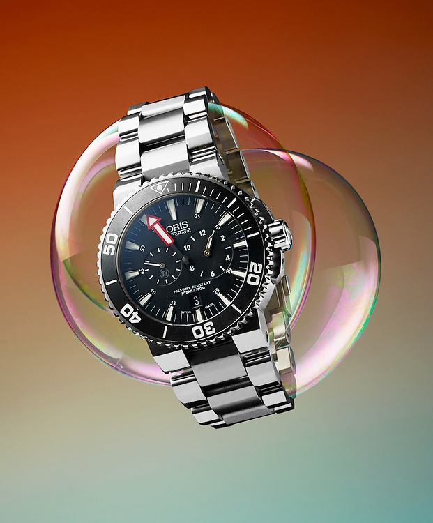 Oris watch on bubbles.