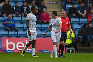 Peterborough United forward Jamie Walker  (6) (right) after scoring a goal (0-1) and Peterborough United forward Ivan Toney (17) during the EFL Sky Bet League 1 match between Gillingham and Peterborough United at the MEMS Priestfield Stadium, Gillingham, England on 22 September 2018. Picture by Martin Cole
