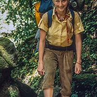 Meredith Wiltsie treks around Annapurna in Nepal, 1974.