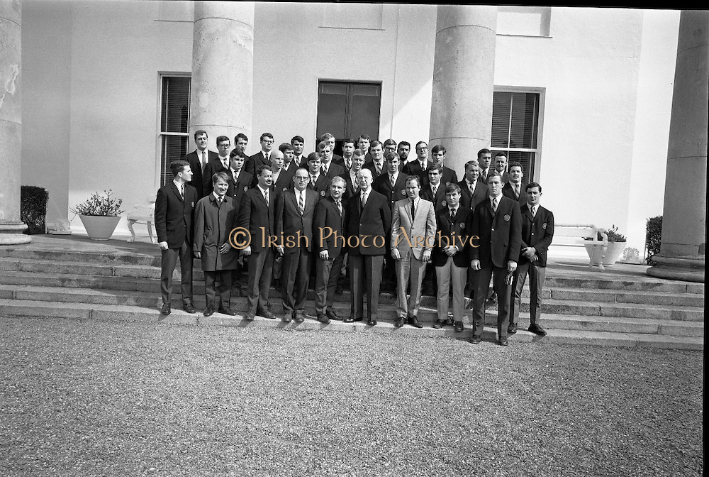 Notre Dame American Football Team, recieved by President Eamon de Valera at Áras an Uachtarain. The team is on a short tour of Ireland playing matches around the country..19.04.1968