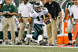 Philadelphia Eagles wide receiver Danny Amendola #11 runs the ball during the NFL game between the Philadelphia Eagles and the New York Jets on September 3rd 2009. The Jets won 38-27 at Giants Stadium in East Rutherford, NJ.  (Photo By Brian Garfinkel)
