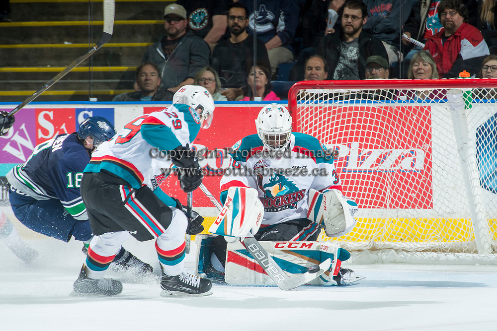 KELOWNA, CANADA - APRIL 30: Michael Herringer #30 of the Kelowna Rockets makes a save against the Seattle Thunderbirds on April 30, 2017 at Prospera Place in Kelowna, British Columbia, Canada.  (Photo by Marissa Baecker/Shoot the Breeze)  *** Local Caption ***