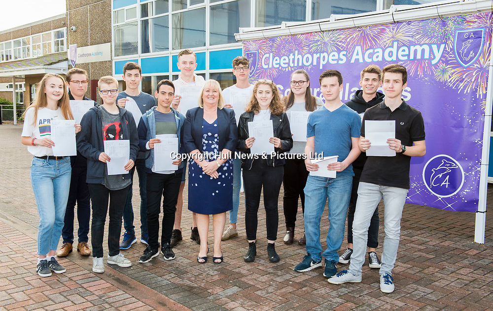 23 Aug 2018: Cleethorpes Academy GCSE results<br /> High achieving students with Principal Janice Hornby.<br /> Picture: Sean Spencer/Hull News & Pictures Ltd<br /> 01482 210267/07976 433960<br /> www.hullnews.co.uk         sean@hullnews.co.uk