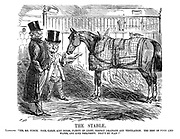 """The Stable. Landlord. """"Yes, Mr Punch. Nice, clean, airy boxes, plenty of light, perfect drainage and ventilation. The best of food and water, and kind treatment. That's my plan!"""""""