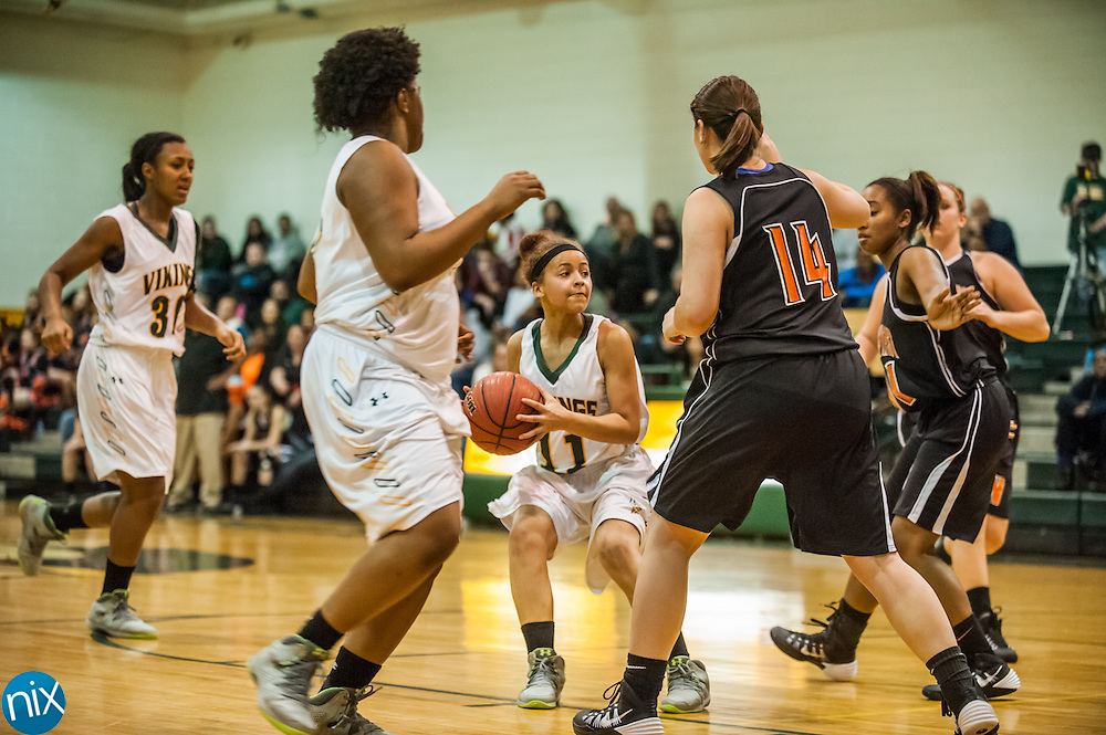 Central Cabarrus' Mahaley Holit looks to shoot against Northwest Cabarrus Friday night at Central Cabarrus High School. Central won the game 53-48.