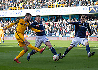 Football - 2018 / 2019 Emirates FA Cup - Sixth Round, Quarter Final : Millwall vs. Brighton<br /> <br /> Aiden O'Brien (Millwall FC) blocks the shot of Davy Propper (Brighton & Hove Albion) at The Den.<br /> <br /> COLORSPORT/DANIEL BEARHAM