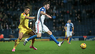 Grant Hanley (captain) (Blackburn Rovers) runs across his own penalty box to clear the ball safely during the Sky Bet Championship match between Blackburn Rovers and Rotherham United at Ewood Park, Blackburn, England on 11 December 2015. Photo by Mark P Doherty.