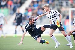 Falkirk's Mark Kerr and Dunfermline's Aaron Splaine. half time : Falkirk 1 v 0 Dunfermline, Scottish Challenge Cup played 7/9/2017 at The Falkirk Stadium.