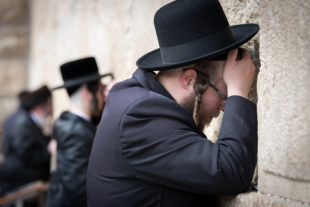 19 April 2019, Jerusalem: On the first day of Pesach (Passover) Jews gather to pray by the Western Wall in Jerusalem, considered as the most sacred and holy place for the Jews.