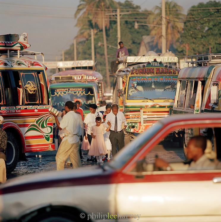 Busy morning street scene in Port-Au-Prince, Haitin