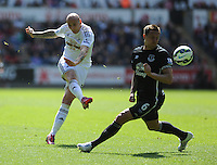 Swansea City's Jonjo Shelvey scores a goal but it is ruled out because of a foul<br /> <br /> Photographer Ashley Crowden/CameraSport<br /> <br /> Football - Barclays Premiership - Swansea City v  Everton - Saturday 11th April 2015 - Liberty Stadium - Swansea<br /> <br /> © CameraSport - 43 Linden Ave. Countesthorpe. Leicester. England. LE8 5PG - Tel: +44 (0) 116 277 4147 - admin@camerasport.com - www.camerasport.com