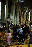 Group of tourists inside the Neo-Gothic Zagreb Cathedral of the Assumption of the Blessed Virgin Mary (Zagrebacka katedrala), Zagreb, Croatia
