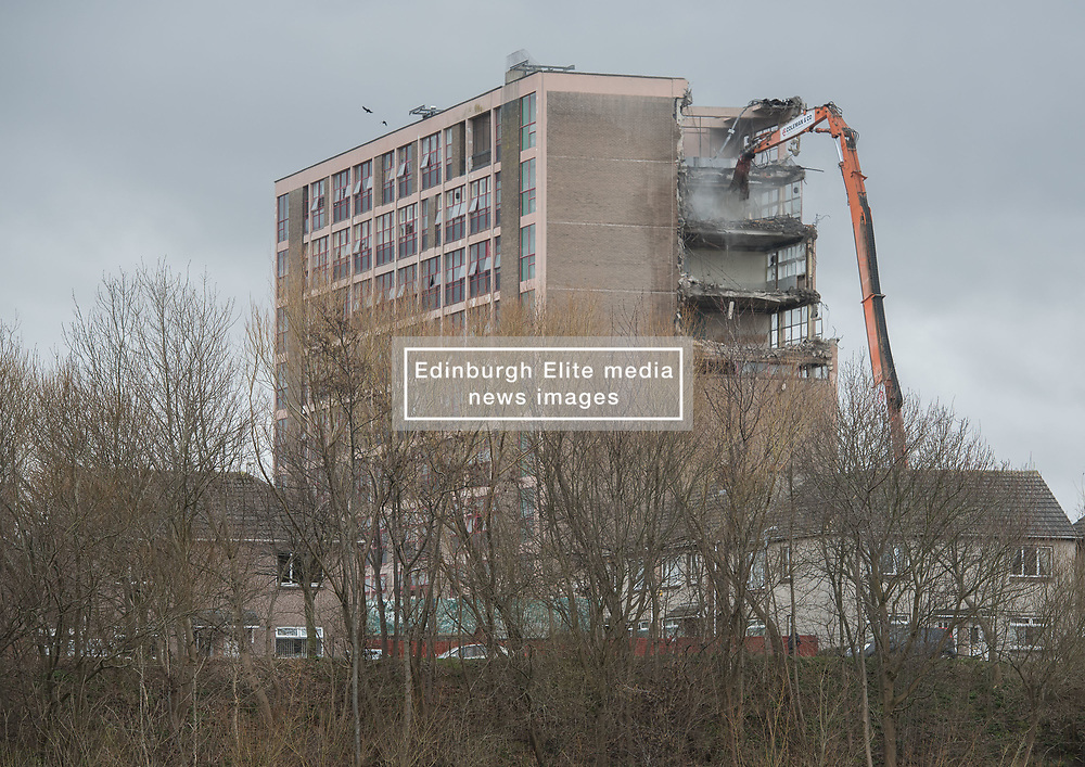 Once the largest school in Europe, Portobello High School is being demolished. Due to its location, surrounded by housing, there will be no spectacular explosive demolition and instead it will be knocked down more slowly, starting from the top<br /> <br /> <br /> © Jon Davey/ EEm