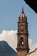 The Immaculate Conception Santa Clara church steeple in Santa Clara del Cobre, Michoacan, Mexico.