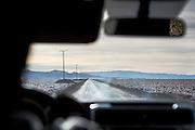 Driving through the Salar de Atacama, Atacama Desert, Chile, South America