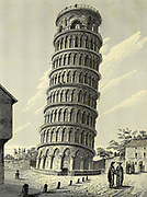 Leaning Bell-tower of Pisa, Italy Copperplate engraving From the Encyclopaedia Londinensis or, Universal dictionary of arts, sciences, and literature; Volume XX;  Edited by Wilkes, John. Published in London in 1825