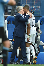 Kylian Mbappé and Didier Deschamps during the World Cup round of 8 game between France and Uruguay on July 6, 2018 in Nizhny Novgorod, Russia. Photo by Lionel Hahn/ABACAPRESS.COM