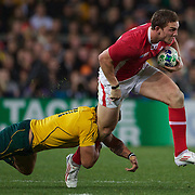 George North, Wales in action during the Australia V Wales Bronze Final match at the IRB Rugby World Cup tournament, Auckland, New Zealand. 21st October 2011. Photo Tim Clayton...