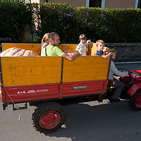 BRESCIA, ITALY - SEPTEMBER 12:  A family brings two giant pumpkins  by tractor at this year competition at  Sale Marasino organised by the Club Maspiano on September 12, 2010 in Brescia, Italy.  Cutrupi Stefano of Radda in Chianti, won  this year Italian National Competition with his pumpkin weighing  507 Kg.