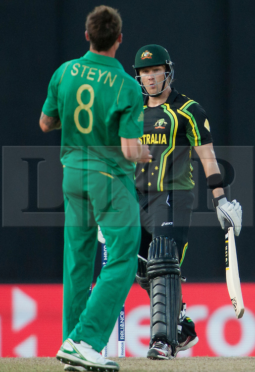 © Licensed to London News Pictures. 30/09/2012. Australia Shane Watson looks at Dale Steyn after nearly being caught behind during the T20 Cricket World super 8's match between Australia Vs South Africa at the R Premadasa International Cricket Stadium, Colombo. Photo credit : Asanka Brendon Ratnayake/LNP
