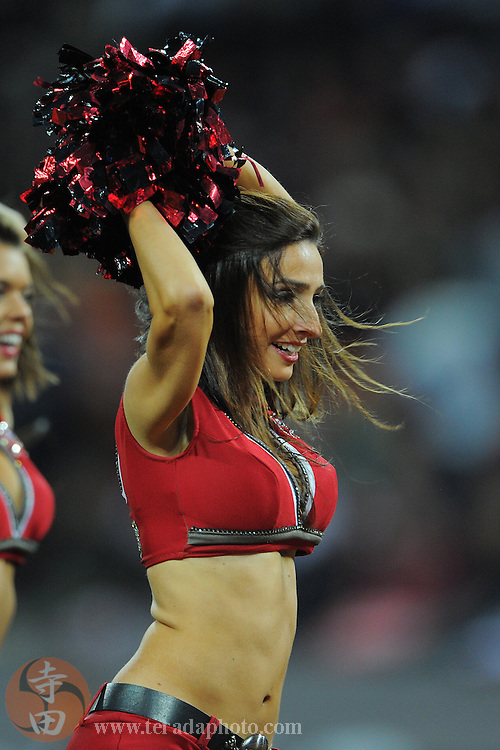 October 23, 2011; London, ENGLAND; Tampa Bay Buccaneers cheerleader Ashley Jarocki performs during the third quarter in the NFL International Series game against the Chicago Bears at Wembley Stadium. The Bears defeated the Buccaneers 24-18.