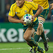 Will Genia, Australia, in action during the New Zealand V Australia Semi Final match at the IRB Rugby World Cup tournament, Eden Park, Auckland, New Zealand, 16th October 2011. Photo Tim Clayton...