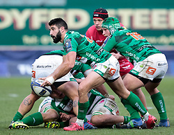 Benetton Rugby's Tito Tebaldi gets the ball away<br /> <br /> Photographer Simon King/Replay Images<br /> <br /> EPCR Champions Cup Round 3 - Scarlets v Benetton Rugby - Saturday 9th December 2017 - Parc y Scarlets - Llanelli<br /> <br /> World Copyright © 2017 Replay Images. All rights reserved. info@replayimages.co.uk - www.replayimages.co.uk