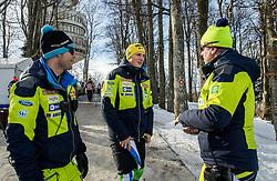 "Miha Verdnik, Stefan Hadalin and Klemen Bergant during FIS Alpine Ski World Cup 2017/18 Men's Slalom race named ""Snow Queen Trophy 2018"", on January 4, 2018 in Course Crveni Spust at Sljeme hill, Zagreb, Croatia. Photo by Vid Ponikvar / Sportida"