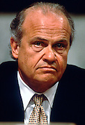 U.S. Senator and actor Fred Thompson chairs the Senate Campaign Finance Committee hearings investigating President Bill Clinton July 9, 1997 in Washington, DC.