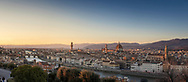 Panoramic view of Florence, Tuscany, Italy including the Duomo, Ponte Vecchio, Palazzo Vecchio and the river Arno seen from Piazzale Michelangelo.<br /> Picture date: Saturday February 23, 2019.<br /> Photograph by Christopher Ison ©<br /> 07544044177<br /> chris@christopherison.com<br /> www.christopherison.com