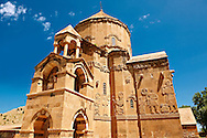 10th century Armenian Orthodox Cathedral of the Holy Cross on Akdamar Island, Lake Van Turkey 76 .<br /> <br /> If you prefer to buy from our ALAMY PHOTO LIBRARY  Collection visit : https://www.alamy.com/portfolio/paul-williams-funkystock/lakevanturkey.html<br /> <br /> Visit our TURKEY PHOTO COLLECTIONS for more photos to download or buy as wall art prints https://funkystock.photoshelter.com/gallery-collection/3f-Pictures-of-Turkey-Turkey-Photos-Images-Fotos/C0000U.hJWkZxAbg