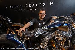 Custom bike builder Winston Yeh of Taiwan at the Mooneyes Yokohama Hot Rod & Custom Show. Yokohama, Japan. December 6, 2015.  Photography ©2015 Michael Lichter.