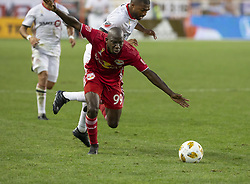 September 22, 2018 - Harrison, New Jersey, United States - Bradley Wright-Phillips (99) of New York Red Bulls & Ashtone Morgan (5) of Toronto FC fight for ball during regular MLS game at Red Bull Arena Red Bulls won 2 - 0 (Credit Image: © Lev Radin/Pacific Press via ZUMA Wire)