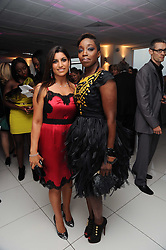 Left to right, LISA REUBEN and Singer ESTELLE at The Reuben Foundation and Virgin Unite Haiti Fundraising dinner held at Altitude 360 in Millbank Tower, London on 26th May 2010.
