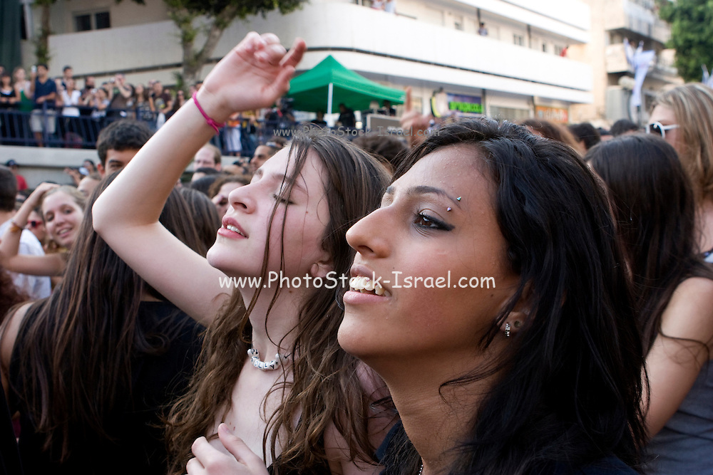 Israel, Tel Aviv, Dizengoff Square, Hayehudim Israeli Rock Band at an outdoor performance. The crowd during the performance
