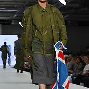 Designer Enki Allan at the Best of Graduate Fashion Week showcases at the Graduate Fashion Week 2018, June 6 2018 at Truman Brewery, London, UK.