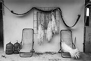 """2015/03/13 - Pile, Ecuador: Straw hangs on a window in order to dry before it is used to weave a """"Montecrisit hat"""". A """"Montecristi hat"""" takes on average 3 months to weave. It will be sold unfinished for around in Pile for $US700. Later on once in the U.S. or Europe can reach the price tag up to $US25,000. UNESCO declared the """"Montecristi hat"""" in 2012 as Intangible Cultural Heritage of Humanity."""