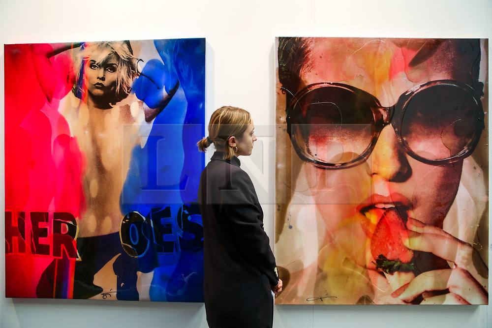 © Licensed to London News Pictures. 21/01/2020. London, UK. A woman views Jörg Doring's artwork during the preview of London Art Fair at Business Design Centre in north London. The fair opens on 22 January and runs until 26 January, which showcases modern and contemporary artwork from galleries around the world. Photo credit: Dinendra Haria/LNP