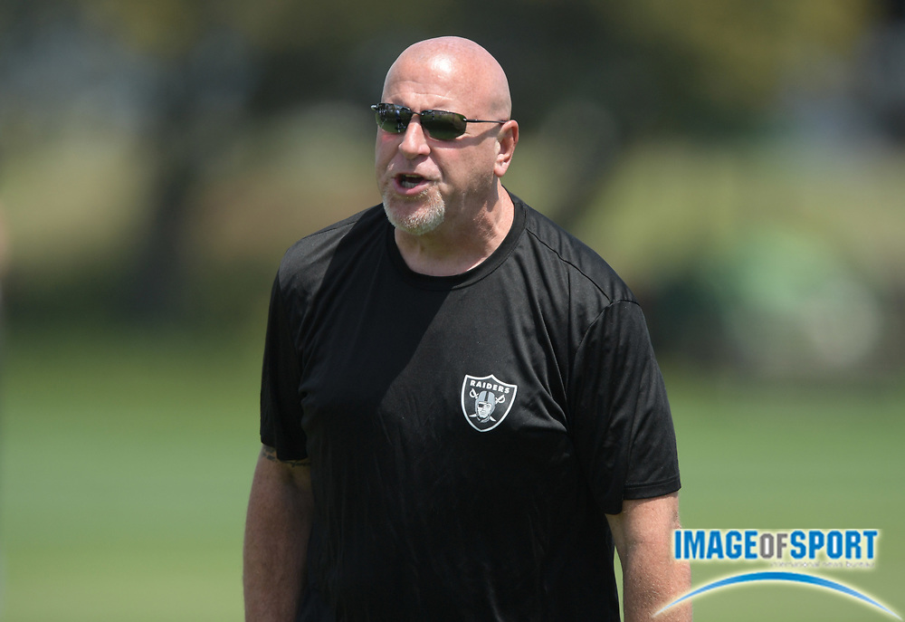 Oakland Raiders offensive line coach Tom Cable during rookie minicamp at the Raiders practice facility.