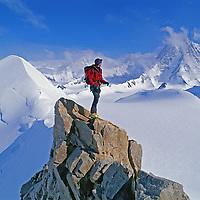 A mountain climber summits Mount Bearskin.