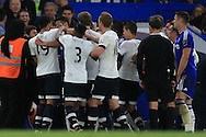 file pic :  players from Chelsea and Tottenham Hotspur square up to each other as Mousa Dembele of Tottenham gouge's the eye of Diego Costa of Chelsea in the bad tempered match between Chelsea and Spurs in May 2016. Mousa Dembele received a 6 match ban for the eye-gouge incident.  The two sides meet again with this season's match this weekend.<br /> pic by Andrew Orchard, Andrew Orchard sports photography.
